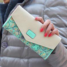 Hot Koop Nieuwe Mode Vrouwen Portemonnee Hit Kleur Bloemen Printing Zip PU Lederen Portemonnee Lange Dames Clutch Cash Card Purse LL1026