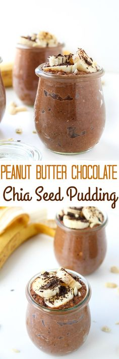 Peanut Butter Chocolate Chia Seed Pudding Gluten free & Vegan Sub another nut butter for paleo
