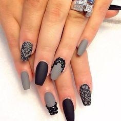 Matte grey and black with lace and stone accents