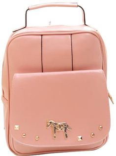 Preppy Style Horse Print PU Leather Backpack With Rivets