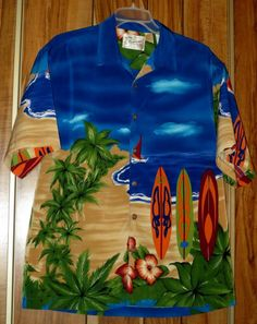Men's Reservoir Blue Surf Board & Palm Tree Polyester Hawaiian Shirt Size Medium