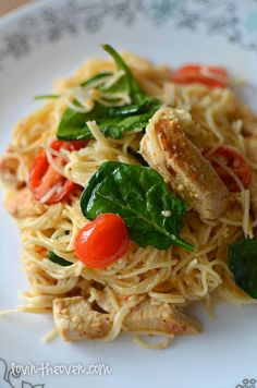 Lovin' From The Oven:Lemon Pasta with Chicken, Spinach, and Tomatoes - Lovin' From The Oven
