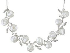 "8-9mm White Cultured Keshi Pearl & Topaz Vine Motif Rhodium Plated Sterling Adjustable 18"" Necklace"