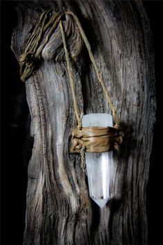 Huge 4 inch Quartz & Leather Mystical Pendant Necklace by Winisha, $95.00