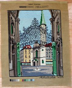 Completed Needlepoint Tapestry - Wrought Iron Gate Michaelerplatz Vienna Austria