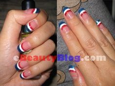 Flag colors French Manicure! Get festive!!