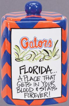 Gator orange and blue chevron canister from Magnolia Lane Collection