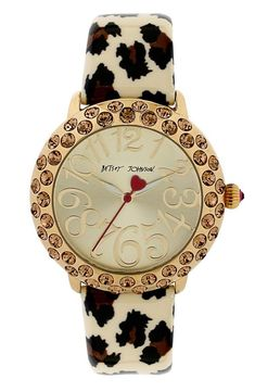 Love the mix of leopard print, brown crystals and gold | Watch by Betsey Johnson