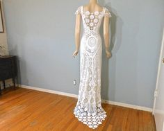 I know you want something more simple. White Lace Wedding DRESS BoHo Crochet Hippie by MuseClothing, $362.00