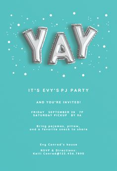 Sleepover Invitations, Party Invitations, Sleepover Party, Slumber Parties, Mom Birthday Crafts, Youre Invited, Animal Party, Free Printables, Balloons
