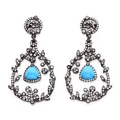 "Rarities: Fine Jewelry with Carol Brodie Blue Turquoise and White Topaz ""Vine"" Earrings at HSN.com"