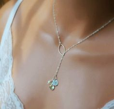 Personalized Mothers Necklace, Initial Necklace, Bridal Necklace, Birthstone Necklace, Mothers Gift, Dainty Silver Lariat