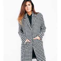 Houndstooth Longline Jacket NWT Nothing says winter chic like a timeless houndstooth jacket. Details include a soft, wool-blend fabric with a black & white print, a notched collar, snap closure and pockets at the front. Stay fashionable and warm in this beautiful jacket! NWT Jackets & Coats