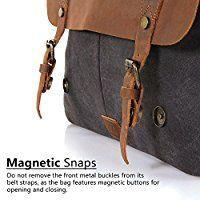 Lifewit Vintage Messenger Bag Umhängetasche Aktentasche Schultertasche 14 Zoll Laptoptasche Notebooktasche aus Canvas und Leder Schwarz
