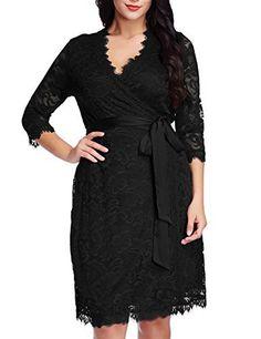 Grapent Womens Plus Size Floral Lace 3/4 Sleeves Formal True Wrap Dress Cocktail