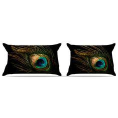 "Alison Coxon ""Peacock Black"" Pillow Case"