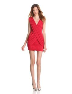 BCBGMAXAZRIA Womens Alondra Knit Cocktail Dress, Rio Red, Medium.  check discount today! click picture on top.