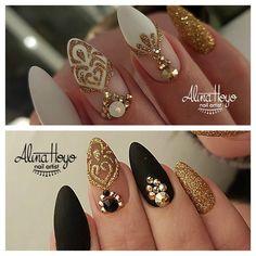 934 Likes 27 Comments Alina Hoyo Nail Artist ( on Instag New Year's Nails, Gem Nails, Shellac Nails, Matte Nails, Stiletto Nails, Fabulous Nails, Perfect Nails, Gorgeous Nails, Pretty Nails