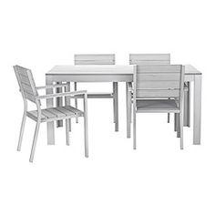 FALSTER, Tisch+4 Armlehnstühle/außen, grau