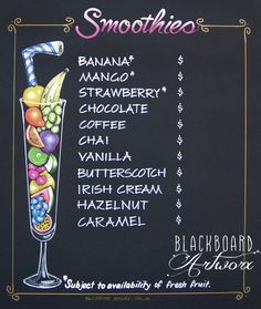 Smoothies drink menu blackboard. More