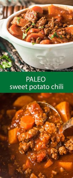 Paleo - paleo sweet potato chili / chili recipe / spicy chili / slow cooker chili / healthy chili / gluten free / grain free / sugar free via Tastes of Lizzy T - It's The Best Selling Book For Getting Started With Paleo Crock Pot Recipes, Spicy Recipes, Beef Recipes, Soup Recipes, Cooking Recipes, Healthy Recipes, Cooking Games, Crockpot Recipes Gluten Free, Gluten Free Soups