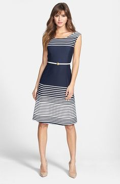 Anne Klein Ombré Stripe Fit & Flare Dress | Nordstrom