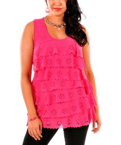Look what I found on #zulily! Pink Eyelet Tiered Tunic - Plus #zulilyfinds