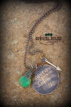 Rustic Western Charm Necklace-Follow Your Arrow, Turquoise, Brass, Arrow, Cowgirl