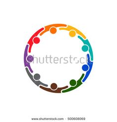 People Illustration. Group of Nine persons in circle. Vector graphic design