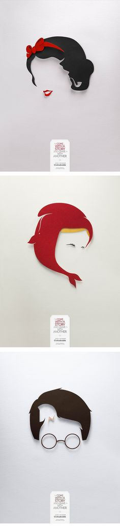 """""""Come with a story, Leave with Another"""" is a brilliant ad campaign for the Colsubsidio Book Exchange that will have you double taking. These clever paper-cut silhouettes, by the Lowe/SSP3 ad agency, feature a mash-up of two literary icons.   The First one: Little Red Riding Hood and Moby Dick. The Second one: Harry Potter and Troy and the last one: Snow White and Sherlock Holmes. I really like the minimalist approach and the brilliant attention to each detail."""