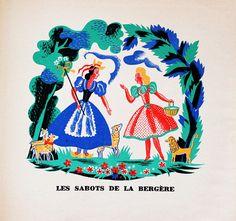 My Vintage Avenue !!! 50's and 60's illustrations !!!: Chansons de l'herbe et de la rosée, illustrated by...