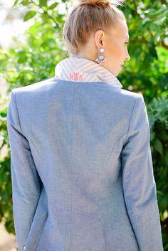 chambray monogrammed blazer