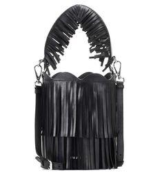 MIU MIU Fringed leather bucket bag. #miumiu #bags #lining #denim #bucket #shoulder bags #suede #hand bags #