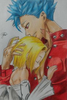 Ban and Elaine by LipwFelipe on DeviantArt Ban And Elaine, Seven Deadly Sins, Manga Anime, Princess Zelda, Deviantart, Painting, Fictional Characters, Pencil Drawing Inspiration, Easy Pencil Drawings