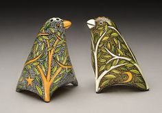 Birds Salt and Pepper by Terri Kern what a cool concept to translate on the right stone.****LL