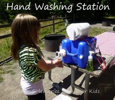 A Hand Washing Station | 31 Things That Will Make Camping With Your Kids So Much Easier