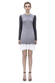 Soft cashmere two-tone grey and white color-block mini dress by Victoria Victoria Beckham  #colorblock #colorblocking
