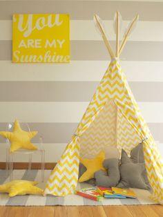 PLAY TENT- KIDS ROOM #yellow&grey #tipi #teepee #MÖA