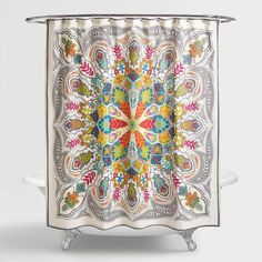$29.99 - Cost Plus World Market - ANDANA MEDALLION SHOWER CURTAIN. This is a great boho style shower curtain (affliate)