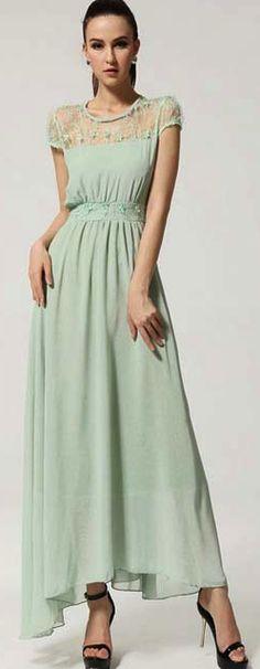 Spring / Summer - dressy style - mint short sleeve illussion neckline lace insert bohemian maxi dress