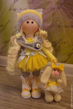 Купить Текстильная куколка малышка Любочка - желтый, кукла ручной работы, кукла текстильная