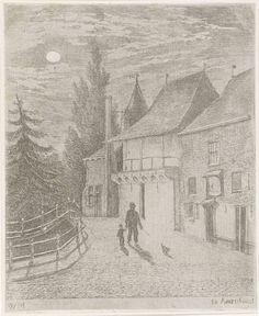 Christiaan Wilhelmus Moorrees | Koppelpoort te Amersfoort bij maanlicht, Christiaan Wilhelmus Moorrees, 1811 - 1867 | Aan de stadszijde van de Koppelpoort te Amersfoort loopt een man met een kind aan de hand. Zij laten een hond uit.