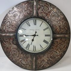 """Buchanan Clock Co."" Round Metal Clock for auction. Face of clock is Location: D-O-on wall Metal Clock, Metal Art, Clock Wall, Clock Craft, Clock Painting, Big Clocks, Clock For Kids, Free To Use Images, Handbags Michael Kors"