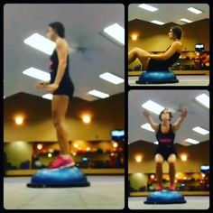 A few different ways to utilize the #bosu. Leg work with some really deep squats, and some ab work.  On the ab exercise let your head drop back a little more than mine.