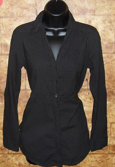 Ladies Small Black Button Blouse
