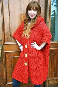 Hooded Poncho By Sara Dudek - Purchased Crochet Pattern - (ravelry) Crochet Jacket, Crochet Cardigan, Crochet Scarves, Crochet Shawl, Crochet Clothes, Knit Crochet, Crochet Sweaters, Learn Crochet, Knitted Shawls