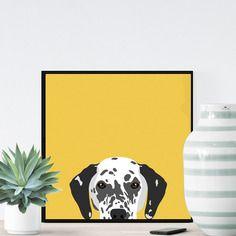Chien dalmatien sur fond jaune - 23x23cm
