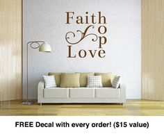 "Christian Decals. Faith Hope Love (16"" wide x 18"" tall) CODE 035"