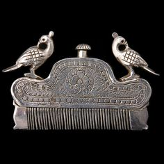 Antique Tribal Indian Silver Artifacts - Rabari /// ouchy on the scalp... pretty comb :))