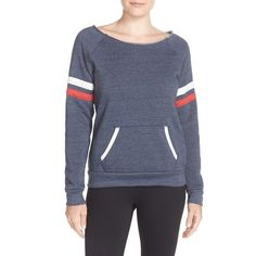 Women's Alternative 'Maniac' Fleece Sweatshirt ($48) ❤ liked on Polyvore featuring tops, hoodies, sweatshirts, eco true navy, striped boatneck top, striped pullover, raglan sleeve sweatshirt, fleece sweatshirt and striped top